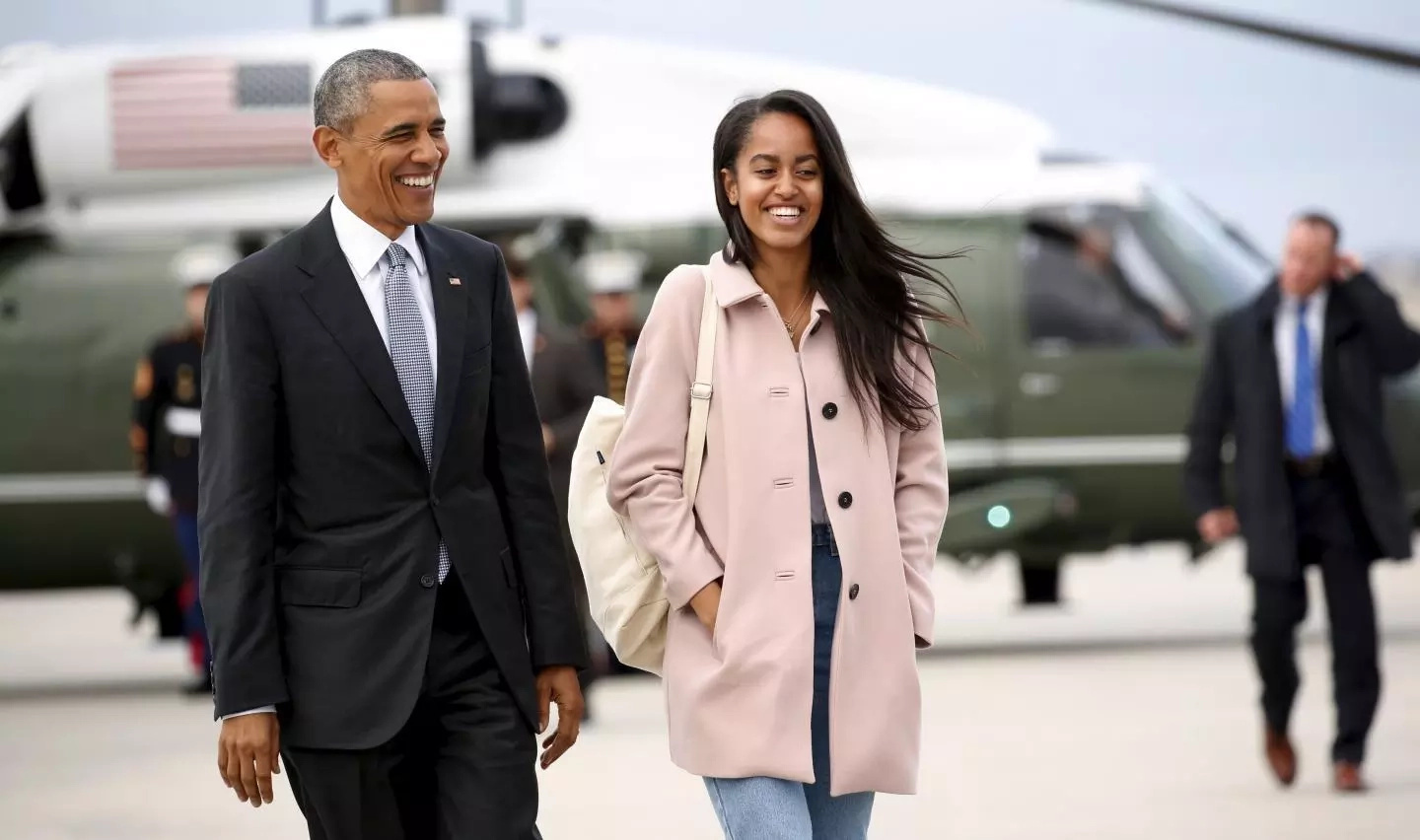 Malia with her dad Barack Obama. Photo: Reuters/Kevin Lamarque