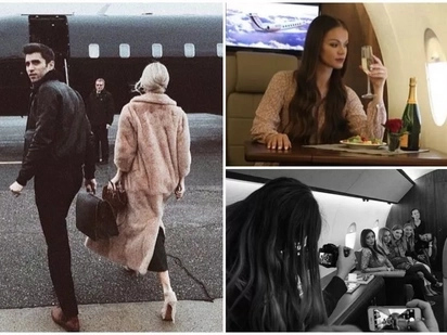 Wannabe rich kids take photos in grounded private jet to pretend they're flying