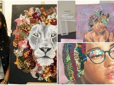 This Kenyan girl, 19, uses African fabrics to create paintings and they are BEAUTIFUL (photos)