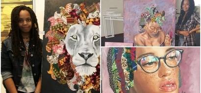 Kenyan girl, 19, uses African fabrics to create BEAUTIFUL paintings (photos)