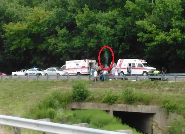 Viral image shows ghostly figure in a motorcycle accident