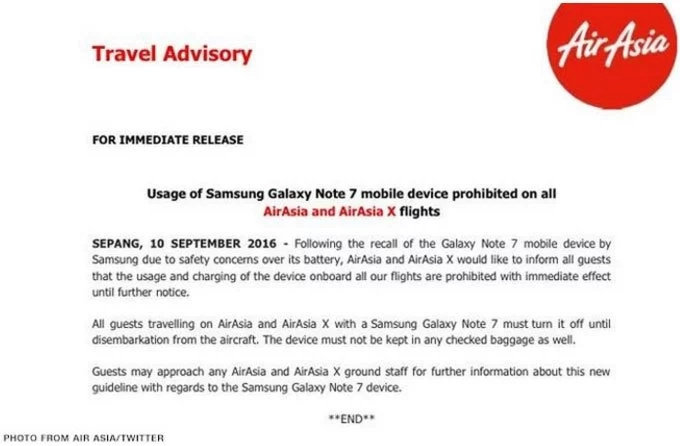 Air Asia prohibits use of Samsung Galaxy Note 7 on its flights