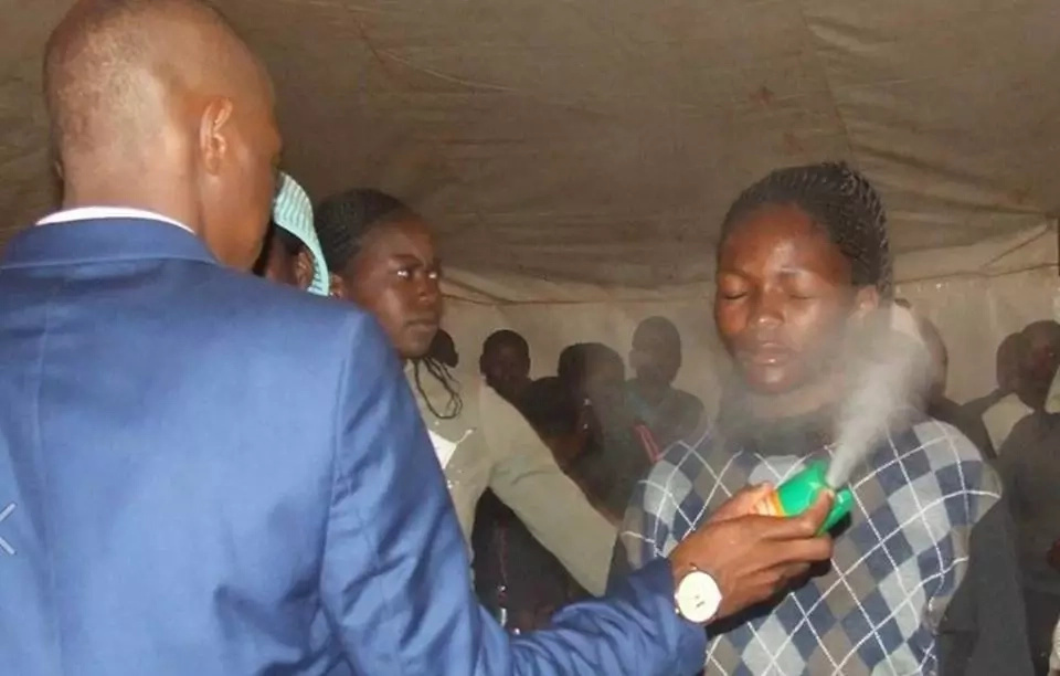South African prophet does the most BIZARRE thing to church goers to heal them