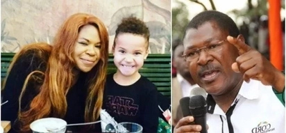 Meet Bungoma Senator Moses Wetangula's mixed-race grandson as he celebrates valentines with the mum