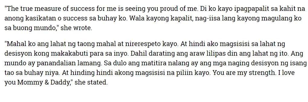 Kisses Delavin to her parents: 'Di ko kayo ipagpapalit sa kahit na anong kasikatan'