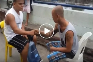 We all thought they were just playing 'jak en poy' until this happened...the punishment was epic!