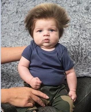 Este es el bebé con más cabello del mundo