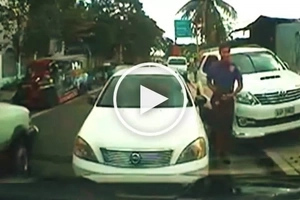 Pinoy policeman counterflows, illegally parks car in middle of road in Binangonan