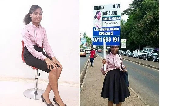 Beautiful lady who looked for a job using a placard finally lands one (video)