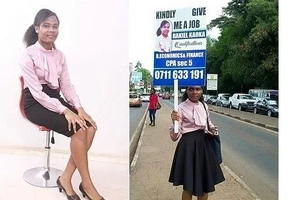 Jubilation as beautiful lady who looked for a job using a placard along Limuru Road gets employeed (photos, video)