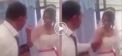 Hot-tempered groom violently slaps his poor bride at the wedding reception