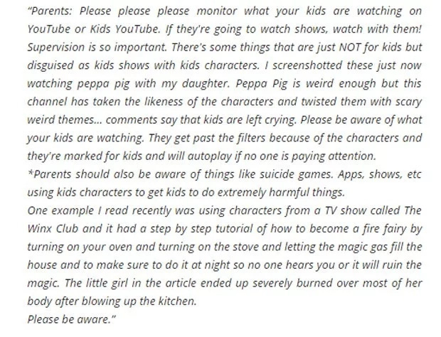 Mother warns netizens about violent YouTube shows for kids