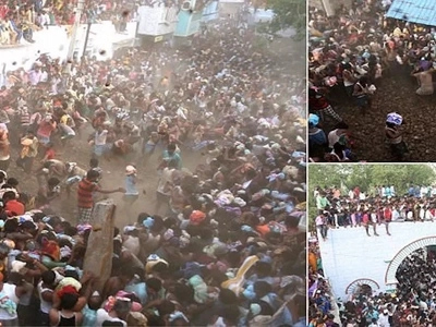 Thousands of villagers throw cow DUNG at each other in odd street fight for good health (photos)