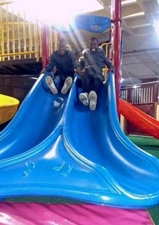 They had fun at a children's playground for the first time in their lives. Photo: Caters TV