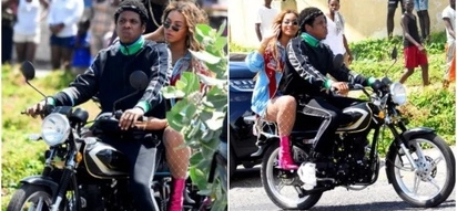 Singer Beyonce exposes her glamorous assets while riding on Bodaboda