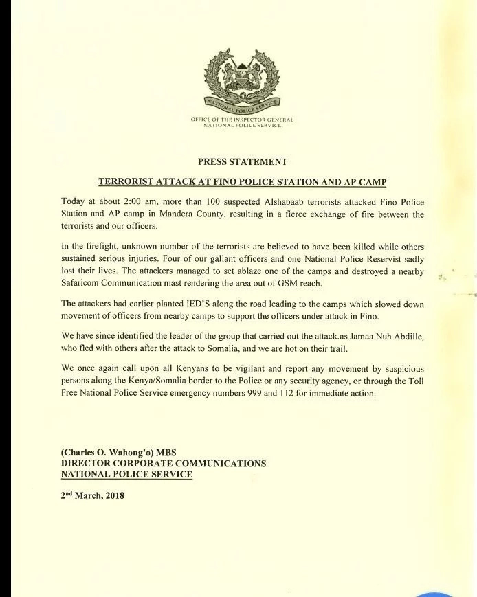 National Police Service confirms number of officers killed in Mandera al-Shabaab attack