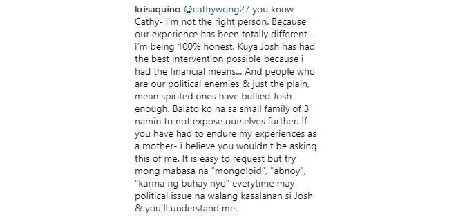 Kris Aquino shares experience on bullying over autism of son Josh