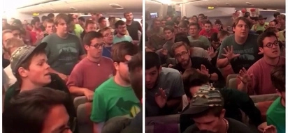 Proudly Pinoy ang kanta! Students from the U.S. perform 'Da Coconut Nut' by Ryan Cayabyab inside a plane