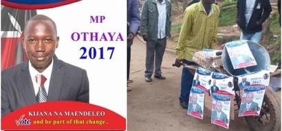 """Mwaniaji ubunge wa miaka 22 kutoka Othaya awavunja mbavu Wakenya kwa kufanya kampeni kwa """"gari"""" ya maskini"""