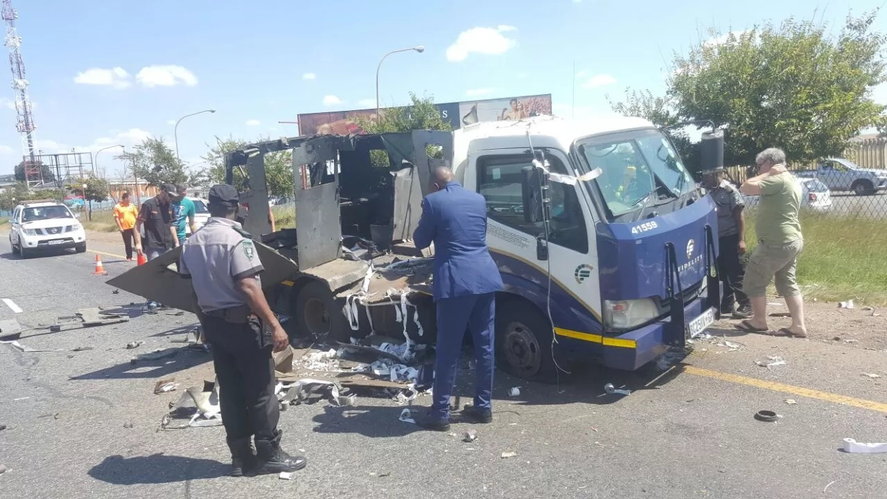 Brazen! Robber BLOW UP cash-in-transit van, make off with loads of money (photos, video)