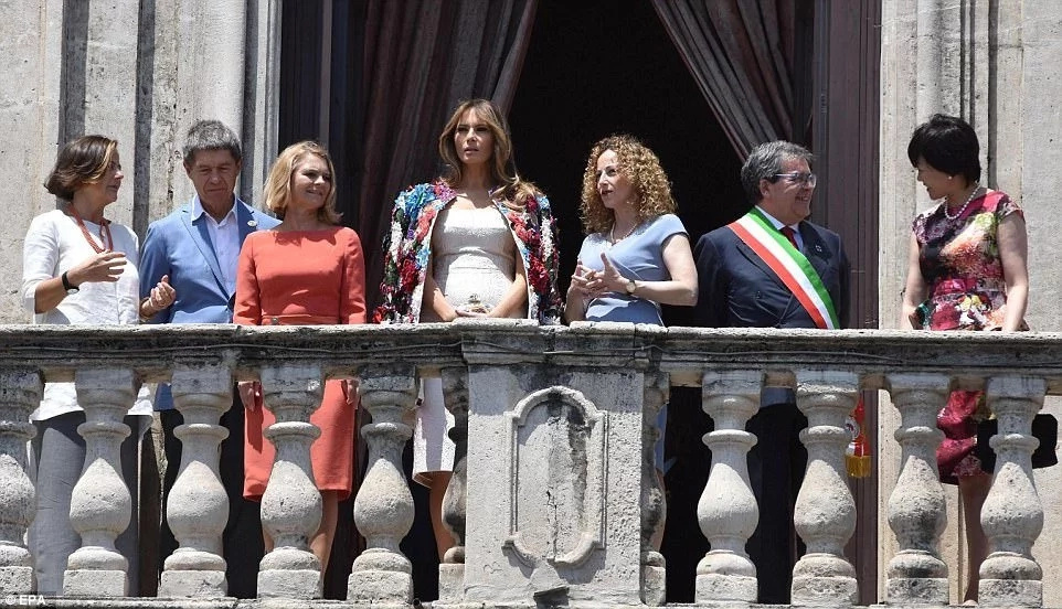Melania Trump alongside other First Ladies and dignitaries