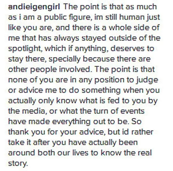 Andi hits back at haters who give her unsolicited advice