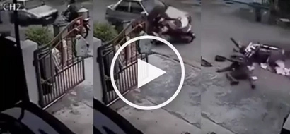 RECKLESS driving: Unsuspecting delivery man VIOLENTLY hit by a car in a subdivision