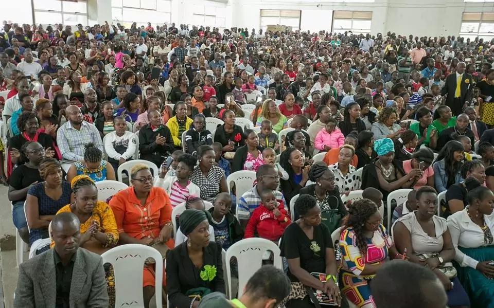 Congregants at the Deliverance Church Umoja listening to the President