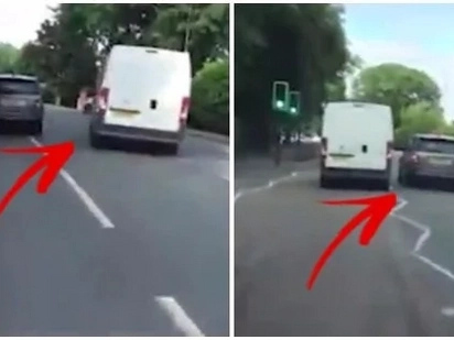 Two raging drivers speed-race on a school road! Footage caught on dashcam!