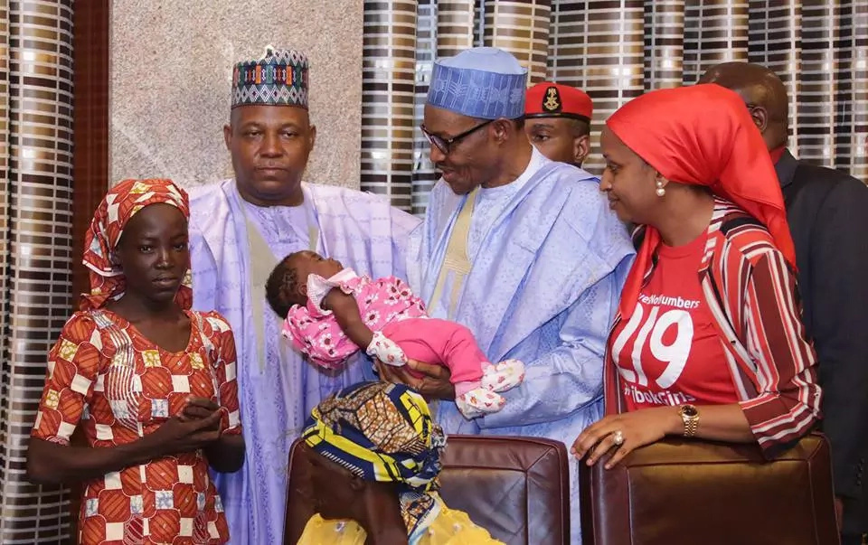 Nigerian president meets one of the Chibok girls
