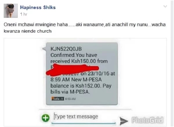 Man badly embarrassed on Facebook after sending Ksh150 to woman he's hitting on