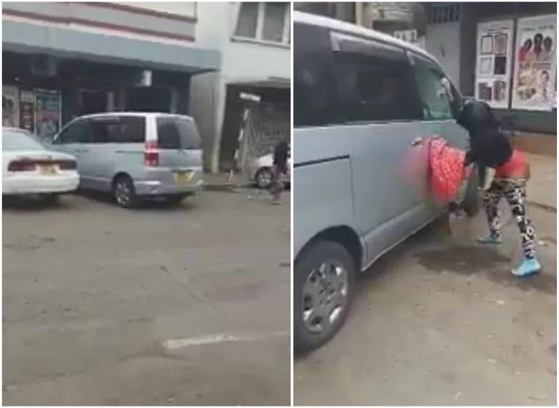 Half-dressed Nairobi woman loses it, smashes clients car in broad day light (photos)