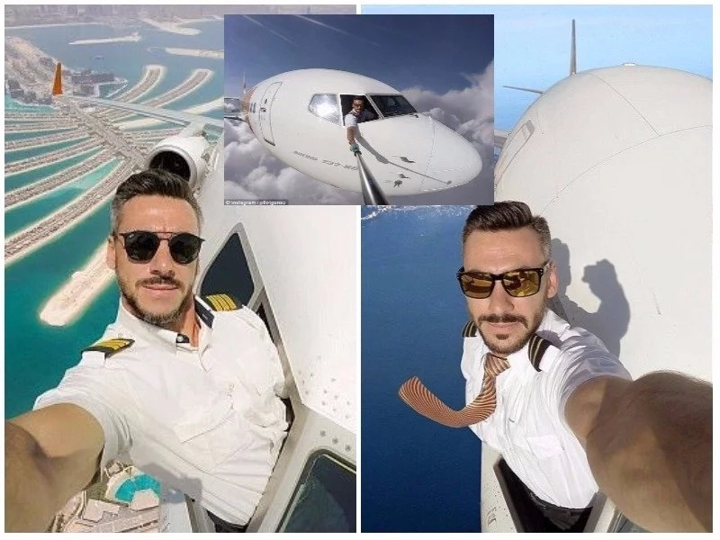 Pilot shares pictures of his selfie taken while flying a plane