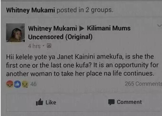 UJUMBE wa mwanamke mmoja mtandaoni kumhusu marehemu Janet Kanini wawakasirisha Wakenya