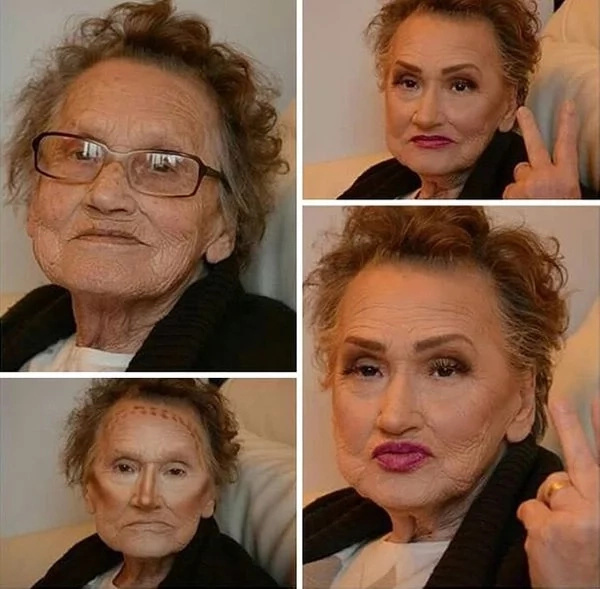 81-year-old asked her granddaughter to do her makeup. Now she looks absolutely different