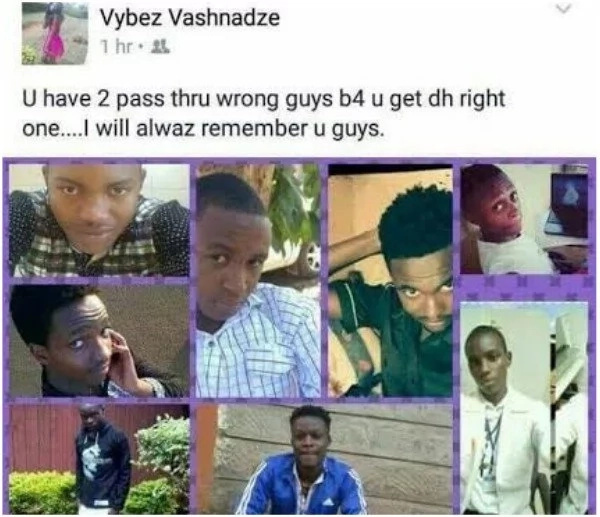 Kenyan lady parades the men she has been with on Facebook with the weirdest message (PHOTO)