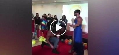 Everyone in the crowd thought he would propose to his partner until something unexpected happened...