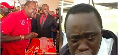 Uhuru excites social media after downing a glass of beer before cameras in Kisumu