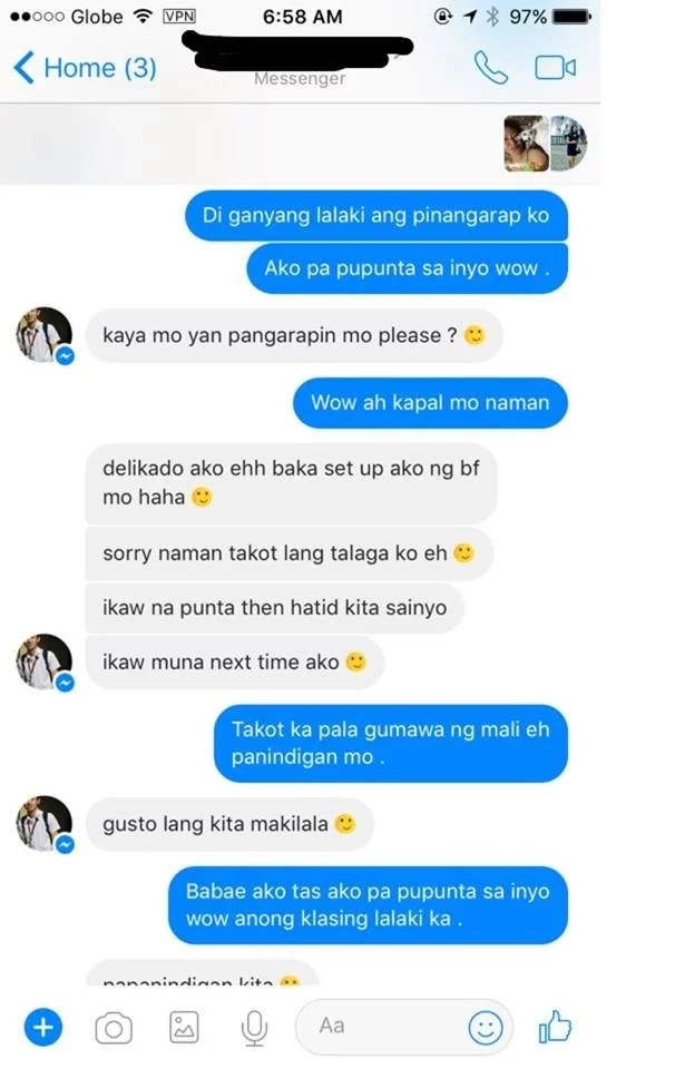 Boyfriend humiliates his girlfriend's admirer on Facebook