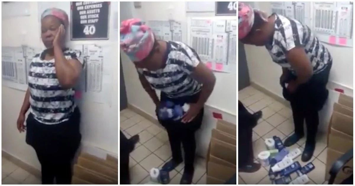 Caught red-handed! Video of shoplifter 'unloading' stolen items goes viral