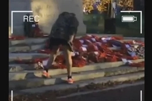 Disgusting Thug Defecates On A War Memorial In This Disturbing Video