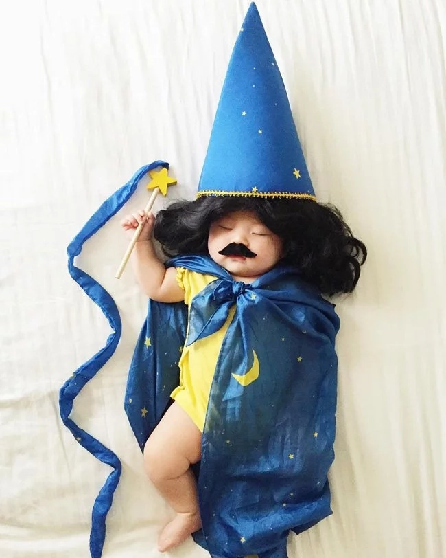 See how this mother dressed her sleeping baby in costumes