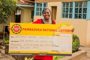Kenyan woman jumps with joy after bagging a fat cheque in last minute entry (video)