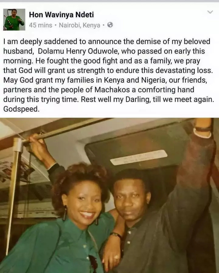 Former MP Wavinya Ndeti's Nigerian husband is dead