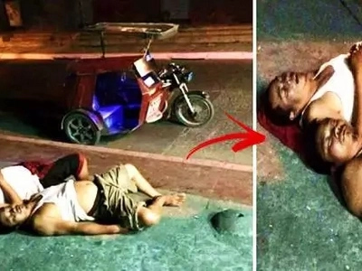 Find out the real reason behind these viral photos of 2 Pinoys lying on the sidewalk beside a tricycle! It will shock you!