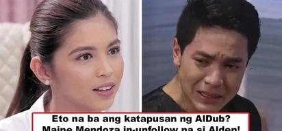 Katapusan na ba 'to ng AlDub? Maine Mendoza unfollows Alden Richards on IG, causes huge online uproar from AlDub fans