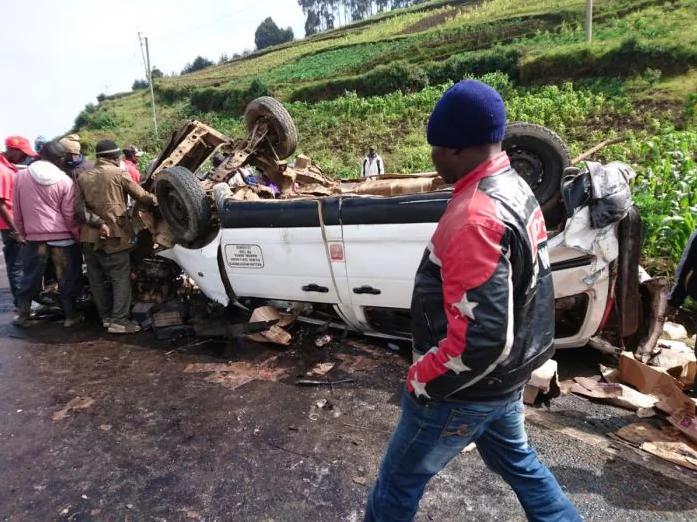 Matatu burst into flames in freak accident along Nairobi-Nakuru highway-(photos)