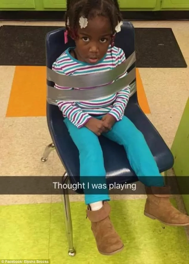 Heartless! Girl, 4, duct-taped to chair at daycare as staff shares the picture of the ordeal on the internet