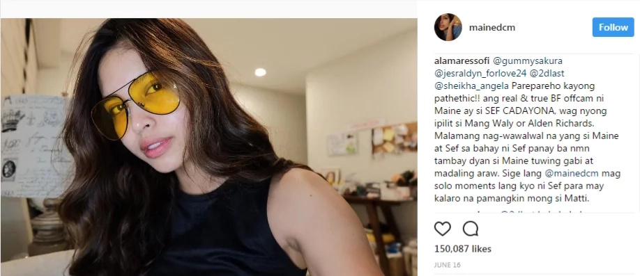 You won't believe how a netizen bashed Maine Mendoza on Instagram!