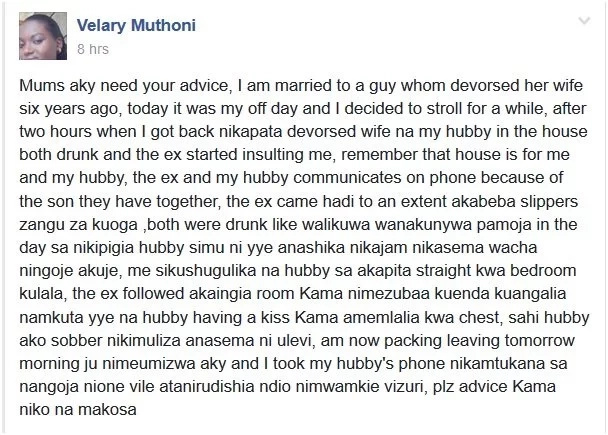 Read this SAD STORY of how a Kenyan lady caught her husband cheating with his ex wife